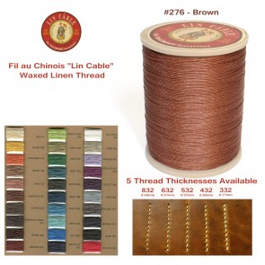 "Fil Au Chinois 50g ""Lin Cable"" WAXED LINEN  - #276 BROWN - for solid stitching, 5 thicknesses available - Made in France"
