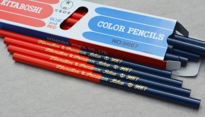 KITABOSHI 9667 Red and Blue Marking Pencils - 12 pack - Made in Japan