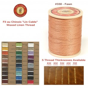 "Fil Au Chinois 50g ""Lin Cable"" WAXED LINEN  - #330 FAWN - for solid stitching, 5 thicknesses available - Made in France"