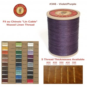 "Fil Au Chinois 50g ""Lin Cable"" WAXED LINEN  - #346 VIOLET/PURPLE - for solid stitching, 5 thicknesses available - Made in France"
