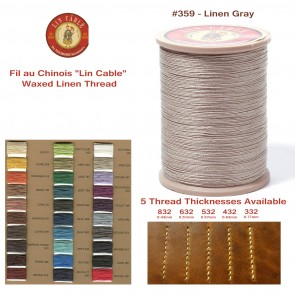 "Fil Au Chinois 50g ""Lin Cable"" WAXED LINEN  - #359 LINEN GRAY - for solid stitching, 5 thicknesses available - Made in France"