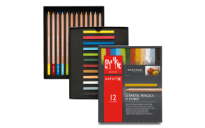 "Caran d'Ache - PASTEL PENCILS ""INTRODUCTION"" ASSORTMENT - 12 PENCILS + 12 CUBES"