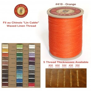 "Fil Au Chinois 50g ""Lin Cable"" WAXED LINEN  - #419 ORANGE - for solid stitching, 5 thicknesses available - Made in France"