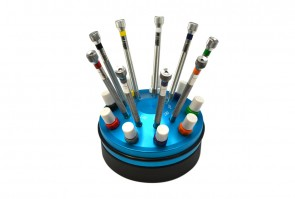 Professional Quality 9-Piece Miniature Screwdriver Set in Rotating Stand + Replacement Blades