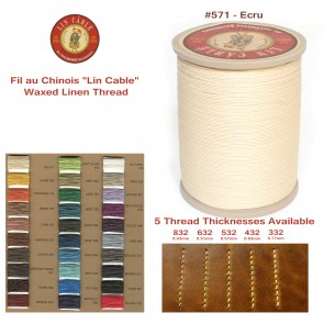 "Fil Au Chinois 50g ""Lin Cable"" WAXED LINEN  - #571 ECRU - for solid stitching, 5 thicknesses available - Made in France"
