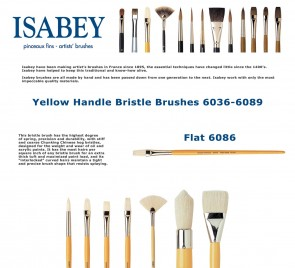 Isabey Yellow Handle Bristle 6086 (Flat)