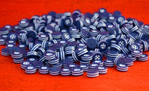 50 white and blue STRIPED BUTTONS - 5mm thick! - choose from sizes 18L 16L 14L - great quality - Made in ITALY