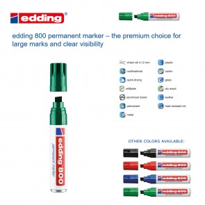 Edding 800 Permanent Marker - large tip - GREEN - Made in Germany