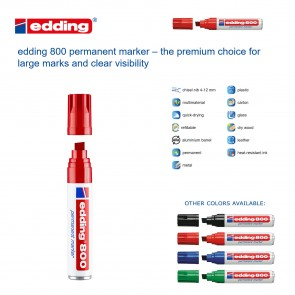 Edding 800 Permanent Marker - large tip - RED - Made in Germany
