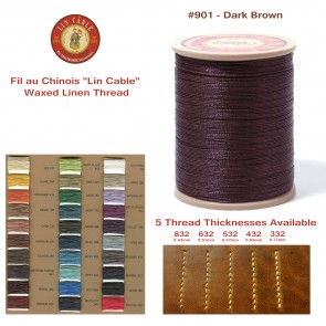 "Fil Au Chinois 50g ""Lin Cable"" WAXED LINEN  - #901 DARK BROWN - for solid stitching, 5 thicknesses available - Made in France"