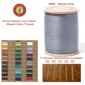 "Fil Au Chinois 50g ""Lin Cable"" WAXED LINEN  - #992 MOUSE GRAY - for solid stitching, 5 thicknesses available - Made in France"