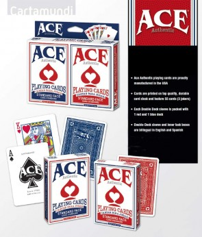 ACE AUTHENTIC Standard Face Double Deck (2 Pack, 1 red + 1 blue) - Made in USA