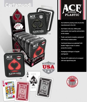 ACE 100% PLASTIC CASINO CARDS IN TIN - Made in USA