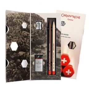 Caran d'Ache - Gift Set - 2 pack Swiss Wood Caran Dache Pencils (HB Graphite Pencils) + Eraser & Sharpener