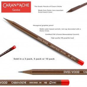 Caran d'Ache - SWISS WOOD GRAPHITE PENCILS HB - Made in Switzerland - 3 pack