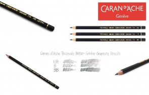 Caran d'Ache - Technalo water-soluble graphite pencils - lot of 3 or 6 - choose HB, B, 3B - Made in Switzerland - finest graphite pencils in the world!