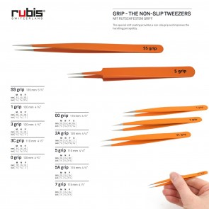 "RUBIS ""GRIP"" - the Non-Slip Tweezers - choose from 10 sizes - Made in Switzerland"
