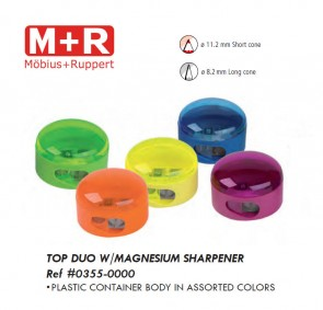 Mobius & Ruppert (M+R) 0355 Top Duo 2 hole round container sharpener, lead color