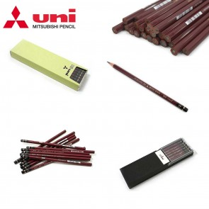 Uni Mitsubishi Hi-Uni Series Wooden Pencil - available in 2B, B and HB hardnesses - Choose lot of 3, 6 or 12 pieces - Made in Japan