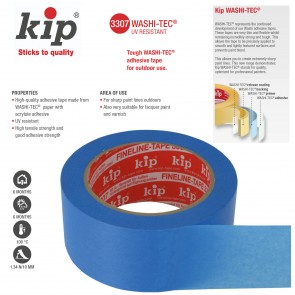 KIP 307 / 3307 WASHI-TEC® UV Resistant Ultra Durable Painting Tape - 1 inch x 150 feet roll - perfect for modeling