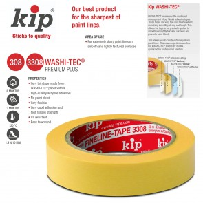 KIP 308 / 3308 WASHI-TEC® PREMIUM PLUS No Paint Bleed Painting Tape - 1 inch x 150 feet roll - perfect for modeling