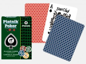 PIATNIK POKER Playing Cards - red / blue, high quality linen finish - made in AUSTRIA - sealed & complete