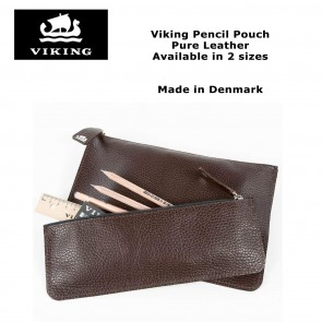 Viking pure leather flat pouch pencil case - Made in Denmark since 1914