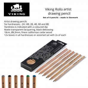 12-Pack Viking Rollo Artist Drawing Pencil Set - assorted set of hardnesses - Made in Denmark since 1914