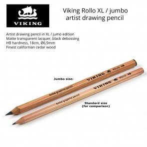 3-Pack Viking Rollo XL - Jumbo Artist Drawing Pencil - HB hardness - Made in Denmark since 1914