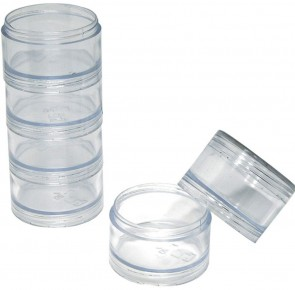"Set of 6 Clear Stackable Trays with Threaded Bottom - 2"" dia x 1"" height STORAGE"