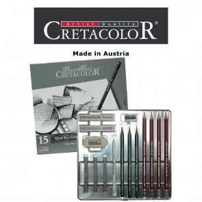Creatacolor Silver Graphite Tin Set of 15 Pencils