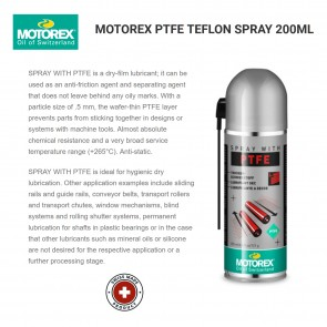 Motorex Teflon Spray with PTFE 200ml - Made in Switzerland