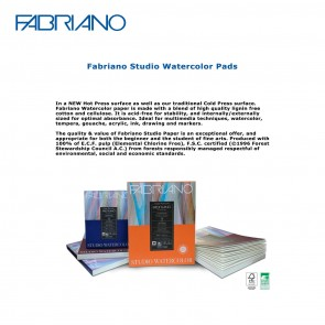 "Fabriano's Cold Press Studio Watercolor Pads 200g/90lb -  9"" x 12"" - 2- page sheet count"