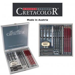 Creatacolor Silver Graphite Wood Box - mix of 17 pieces
